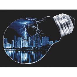 Vyšívací sada s mulinky a korálky - Město v žárovce