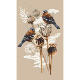 Vyšívací sada s mulinkou a potiskem - Vrabci a máky