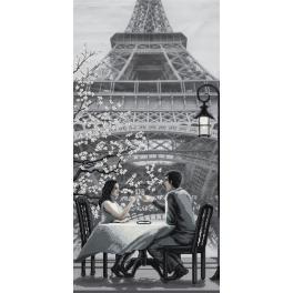NCB 0105 Vyšívací sada s mulinkou a pozadím - Paříž - město lásky. Mládí