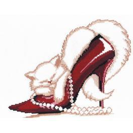 Vyšívací sada - Červená botička