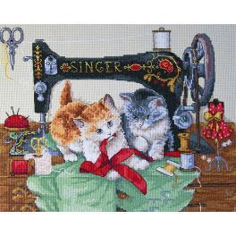 Vyšívací sada - Šijící koťata