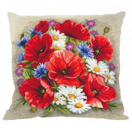 Vyšívací sada s povlakem na polštář - Polštář - Letní kouzlo květin