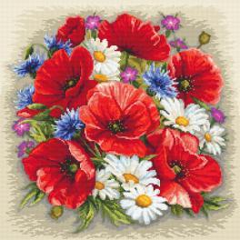 Vyšívací sada s mulinkou a potiskem - Letní kouzlo květin