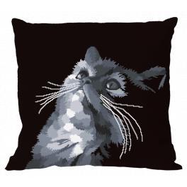 Vyšívací sada s povlakem na polštář - Šedá kočka