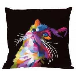 Vyšívací sada s povlakem na polštář - Barevná kočka