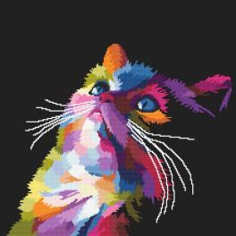 Vyšívací sada s mulinkou a podiskem - Barevná kočka