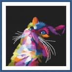 ZN 10637 Vyšívací sada s mulinkou a podiskem - Barevná kočka