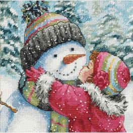 Vyšívací sada - Polibek pro sněhuláka