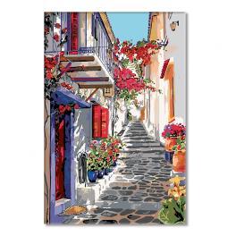 Sada pro malování podle čísel - Španělská ulička s květinami
