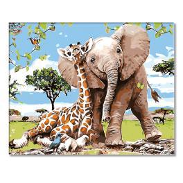 Sada pro malování podle čísel - Žirafa a slůně