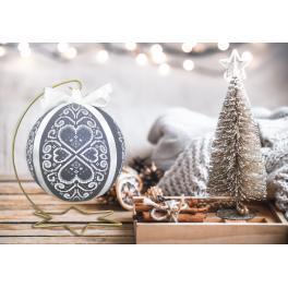 ZU 10639 Vyšívací sada - Vánoční koula s bílou arabeskou