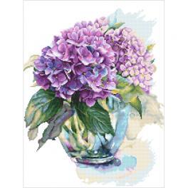 Vyšívací sada s potiskem - Akvarelová hortenzie