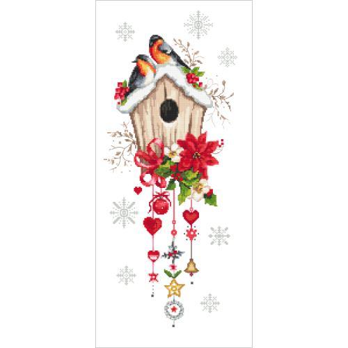 AN 10444 Předtištěná aida - Vánoční krmítko