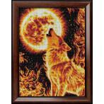 M AZ-1855 Diamond painting sada - Vlk v plamenech