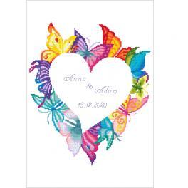 ZN 10650 Vyšívací sada s potiskem - Srdce v motýlech