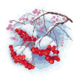 AN 10307 Předtištěná aida - Zimní jeřabina