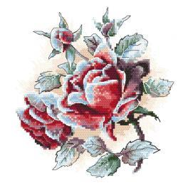 ZI 10305 Vyšívací sada s mulinky a korálky - Růže s jinovatkou