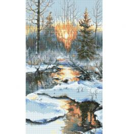 ZN 10304 Vyšívací sada s potiskem - Zimní západ slunce
