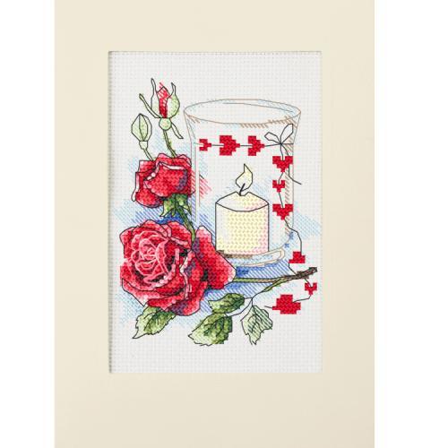 ZU 10302 Vyšívací sada - Valentýnské přání se svíčkou
