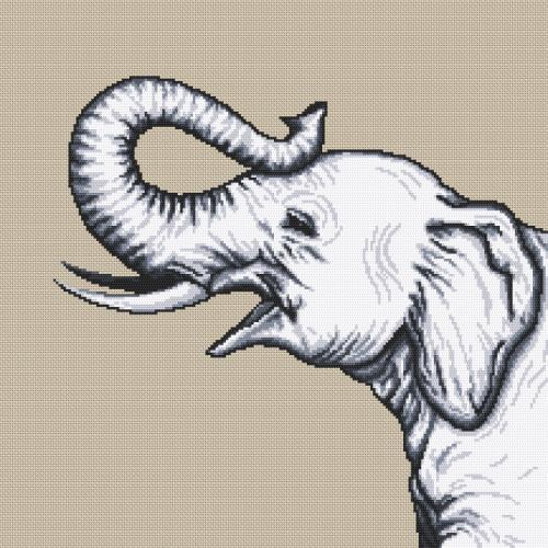 Z 10655 Vyšívací sada - Černo-bílý slon