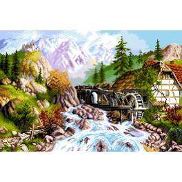 GC 7304 Předloha - Horská krajina - mlýn nad řekou
