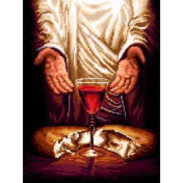 K 7271 Předtištěná kanava - Ježíš Kristus - Chléb a víno