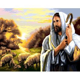 K 7277 Předtištěná kanava - Ježíš Kristus a ovečky