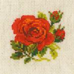 RIO 1843 Vyšívací sada s akrylovou příze - Červená růže