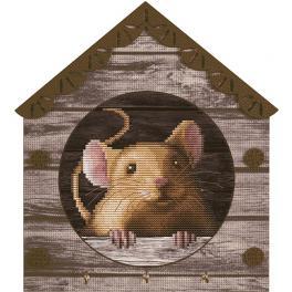 NKO 4044 Vyšívací sada s mulinkou a pozadím - Myška