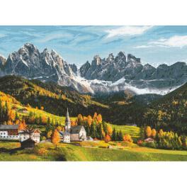 ZN 10666 Vyšívací sada s potiskem - Hory zbarvené podzimem