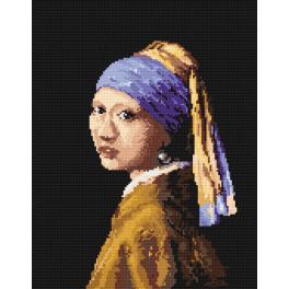 K 4514 Předtištěná kanava - Dívka sperlou - J.V. van Delft