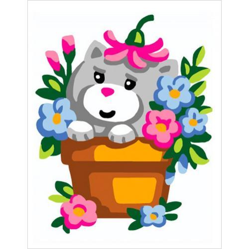 CA 3333K Gobelínova sada - Kočička v květináči