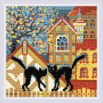 RIO AM0049 Diamond painting sada - Město a kočky