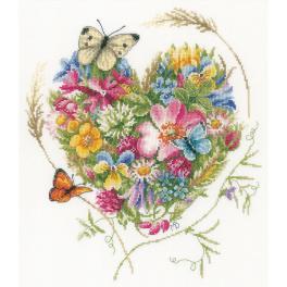 LPN-0169960 Vyšívací sada - Květinové srdce