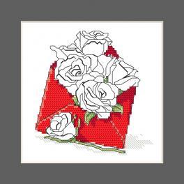 ZU 10327-03 Vyšívací sada - Přání - Obálka plná růží