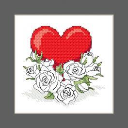 ZU 10327-02 Vyšívací sada - Přání - Srdce z květů růže