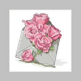 ZU 10326-03 Vyšívací sada - Přání - Obálka s růžemi
