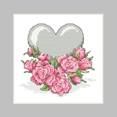 ZU 10326-02 Vyšívací sada - Přání - Srdíčko s růžemi