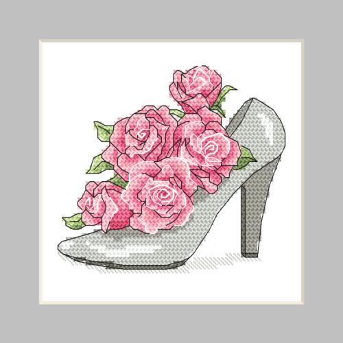 W 10326-01 Předloha ONLINE pdf - Přání - Botička s růžemi