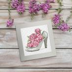 ZU 10326-01 Vyšívací sada - Přání - Botička s růžemi