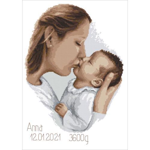 ZN 10457 Vyšívací sada s potiskem - Vzpomínka na narození - Matčin polibek