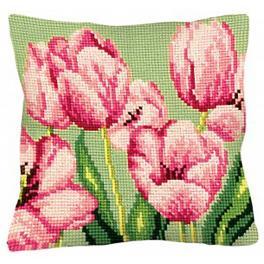 CA 5070 Vyšívací sada s potiskem - Polštářek - Růžové tulipány