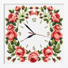ZGRI 10677 Vyšívací sada s mulinkou, korálky, hodinami a rámečkem - Hodiny s růží
