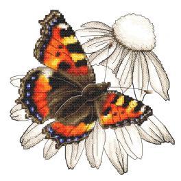 ZI 10331 Vyšívací sada s mulinkou a korálky - Motýl a květ třapatkovky