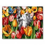 GX27243 Malování podle čísel - Kotě mezi tulipány