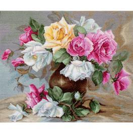 LS B587 Vyšívací sada - Váza s růžemi