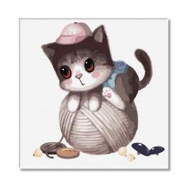 PC3030005 Malování podle čísel - Nezbedné kotě