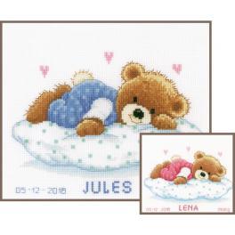 VPN-0002201 Vyšívací sada k narození - Spící medvídek