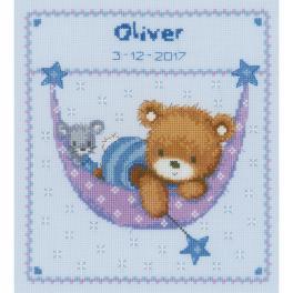 VPN-0150993 Vyšívací sada k narození - Medvídek v houpací síti pro chlapečka