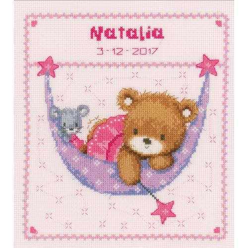 VPN-0148471 Vyšívací sada k narození - Medvídek v houpací síti pro holčičku